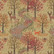 Lewis & Irene Autumn in Bluebell Wood - 5509 - Scenic Print on Gold - A246.2 - Cotton Fabric
